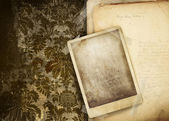 Vintage floral background with old papers — Stock Photo