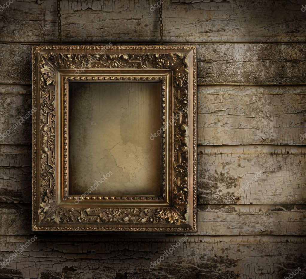 Old frame against a grungy, peeling painted wall — Foto de Stock   #3814439