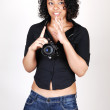 Young girl with camera. — Stock Photo