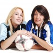 Two soccer girls wit ball. — Stock Photo
