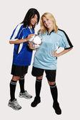 ボールと 2 つのサッカーの女の子. — ストック写真