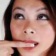 Closeup of a pretty Chinese face. — Stock Photo