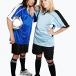 Two soccer girls with ball. — Stock Photo