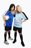 Iki kız futbol topu. — Stok fotoğraf