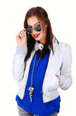 Girl with white jacket and sunglasses. — Stock Photo