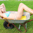 Bikini girl in a wheelbarrow. — Stock Photo