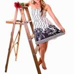 Girl on stepladder. — Stock Photo #3486342