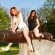 Sisters on a cannon. — Stock Photo