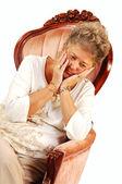 Oroliga äldre kvinna. — Stockfoto