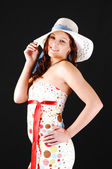 Pretty girl with white hat. — Stock Photo