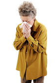 Senior woman with a cold. — Stock Photo