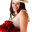 Woman with hat and roses. — Stock Photo