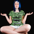 Blue hair girl meditating. — Stock Photo #3522883