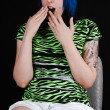 Scared blue haired girl. — Stock Photo #3522886