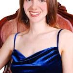 Beautiful woman in royal blue dress. — Stock Photo