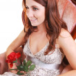 Beautiful woman with red rose. — Stock Photo