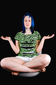 Blue hair girl meditating. — Stock Photo