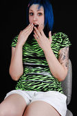 Scared blue haired girl. — Stock Photo