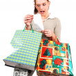 An very surprised shopping woman. — Stock Photo