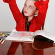Little girl coloring. — Stock Photo