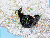 Map with compass. — Stock Photo