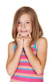 Young girl mimic a smile. — Stock Photo