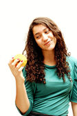 Young girl and apple. — Stock Photo