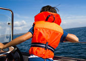 Child with life vest — Stock Photo