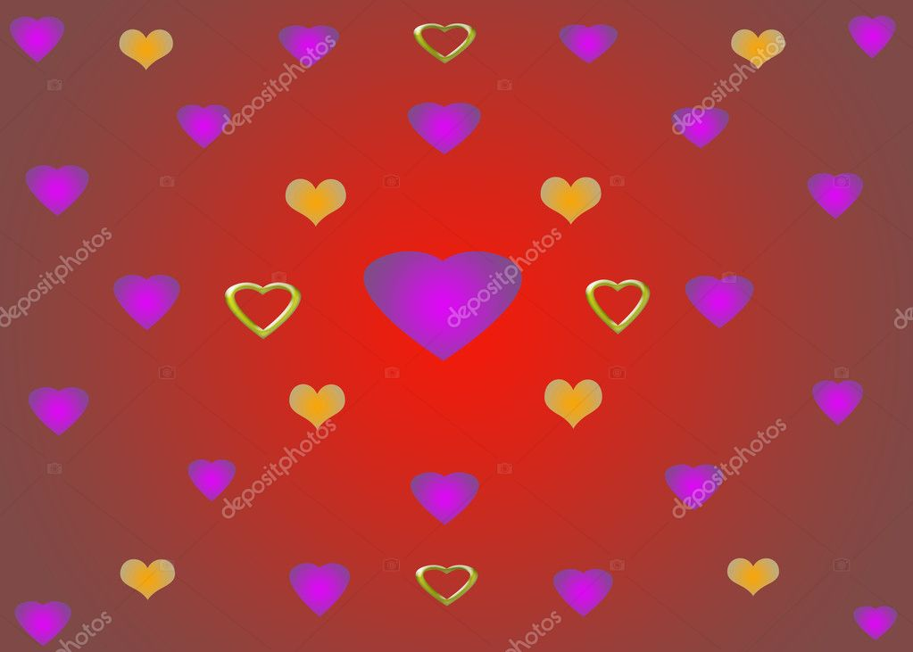 Red Yellow Purple Green hearts — Stock Photo #3247466