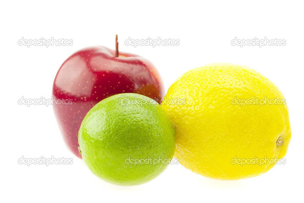 Lemon, lime and apple isolated on white  Stock Photo #3233859