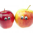 Joke two apple with eyes isolated on white — Stock Photo