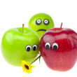Joke apple and lime with eyes isolated on white — Stock Photo