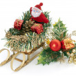 SantClaus and holly ornament — Stok Fotoğraf #3253134