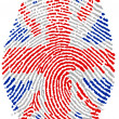 UK  flag Fingerprint - Stock Photo