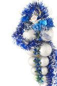 银色圣诞球的圣诞老人 — 图库照片