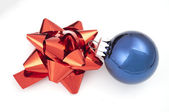 Red bow and blue christmas — Stock Photo
