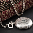 Closed silver pocket watch — Stock Photo