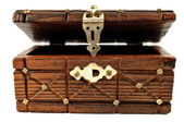 Wooden treasure chest — 图库照片