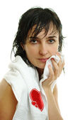 Beautiful woman in white towel — Stock Photo