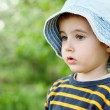 Little pensive boy in jeans hat — Stock Photo
