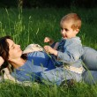 Mother and son outdoors — Stock Photo #3261773