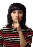 美丽的女人显示沉默的标志 — 图库照片