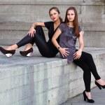 Two beautiful girls outdoors — Stock Photo