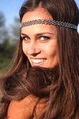 Hippie girl outdoors portrait — Stock Photo