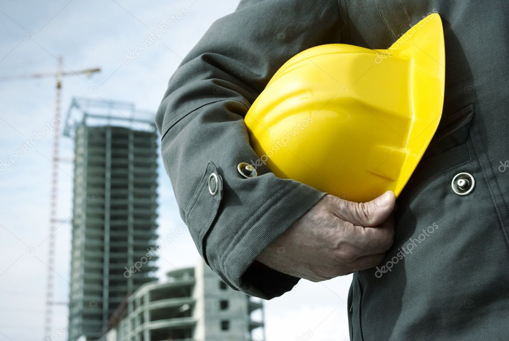 Focus point on the hard-hat and hand, special photo toned f/x — Stock Photo #3195782