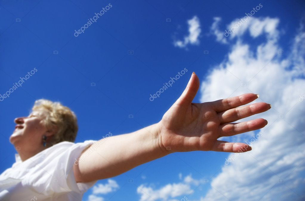Happy free woman on the sky background — Stock Photo #3249369