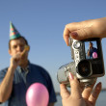Happy party shooting — Stock Photo