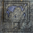 Royalty-Free Stock Photo: Laptop screen with world map on the granit surface