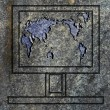 Laptop screen with world map on the granit surface — Stock Photo
