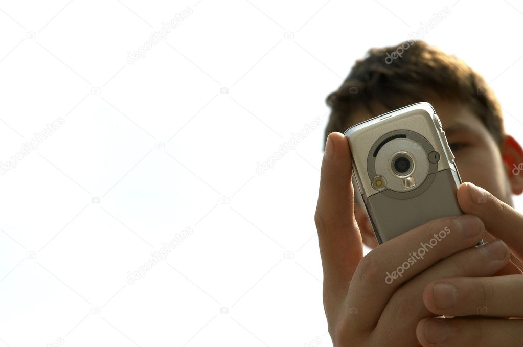Teen try to shoot you with mobile-phone — Stock Photo #3250022